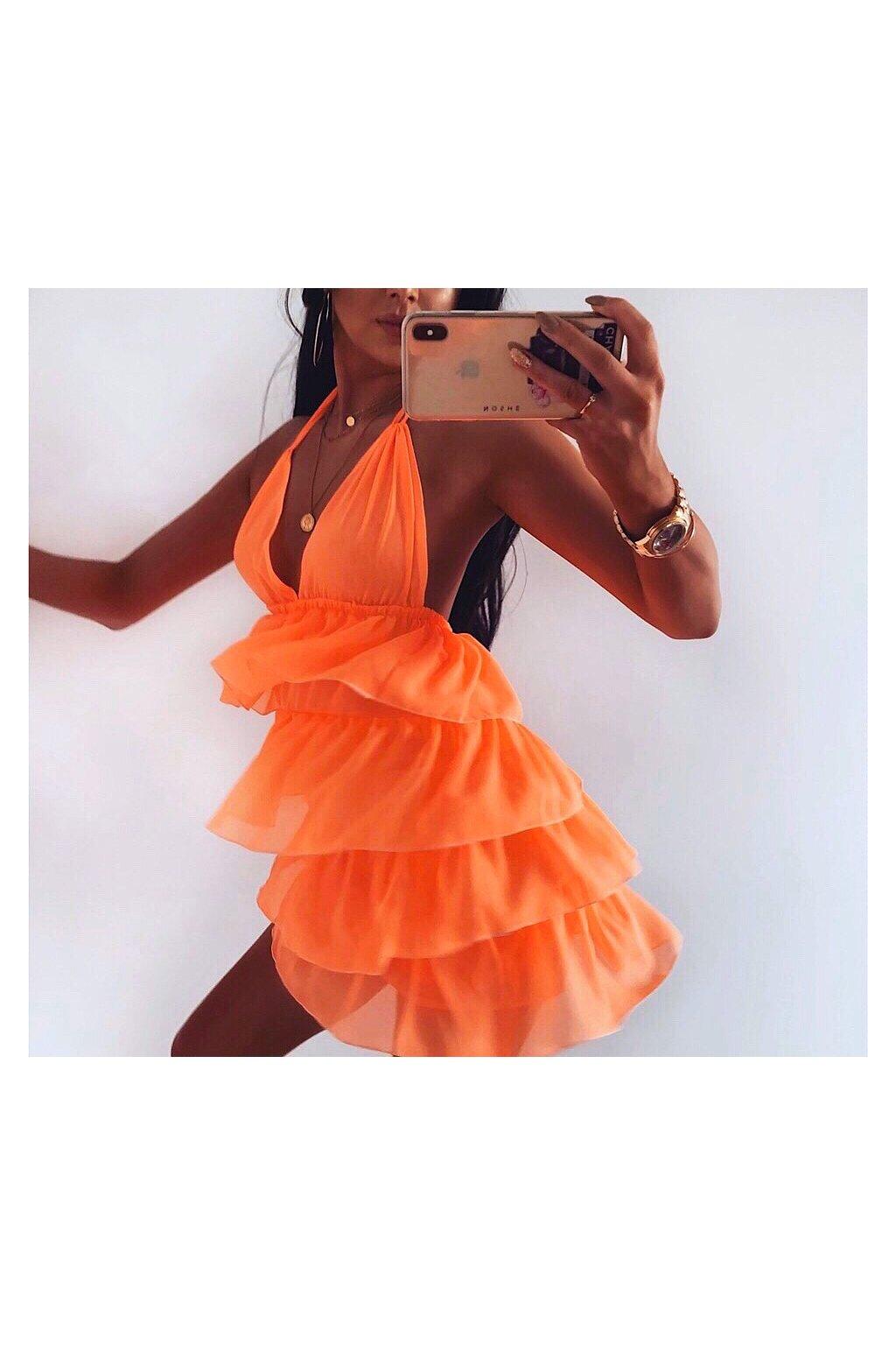 oranžové nazbierane šaty diana