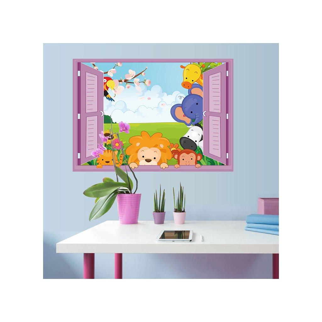Samolepka Zvieratká zo Zoo v okne