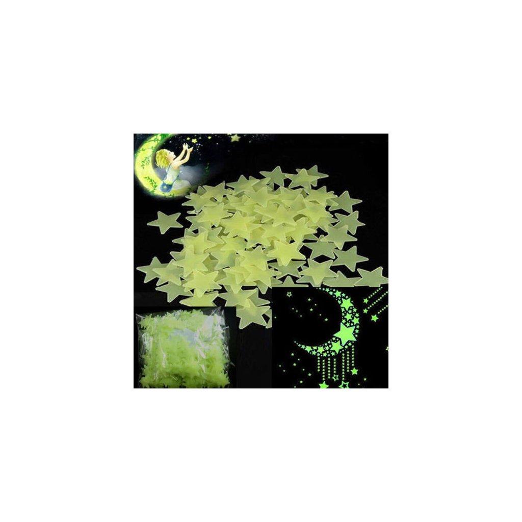 Svietacie fosforové zelené hviezdičky 100 ks