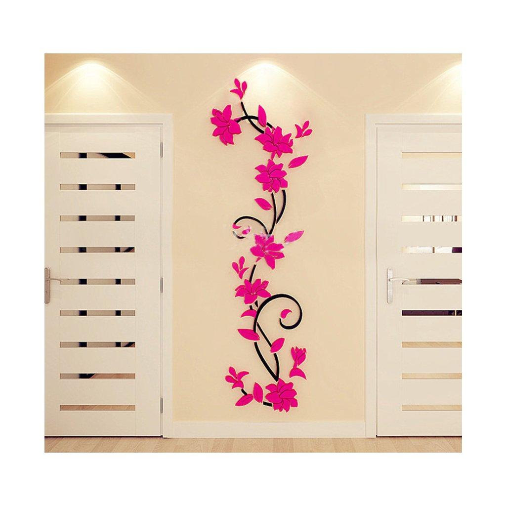Samolepka Tmavo ružové 3D Kvietky