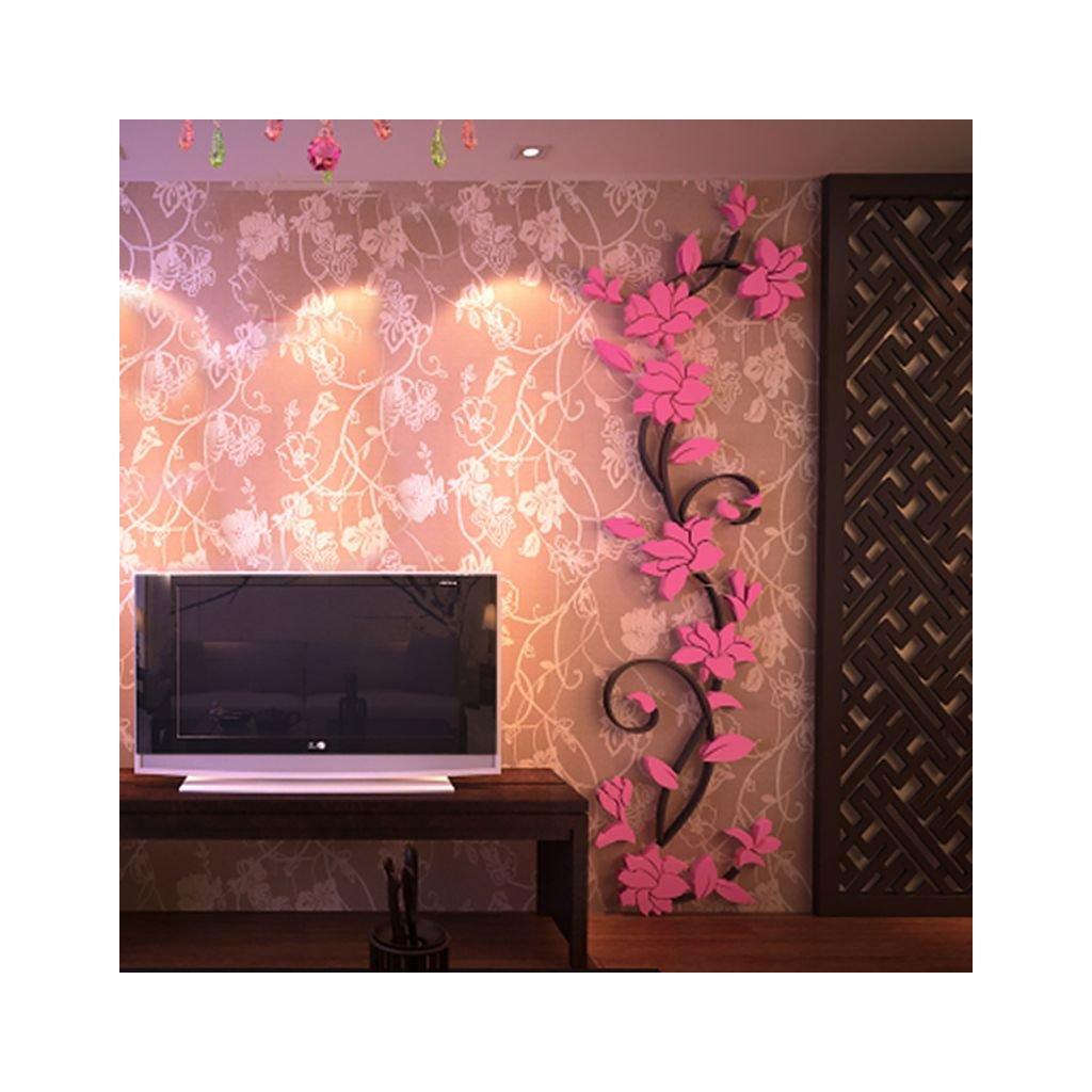 Samolepka Svetlo ružové 3D Kvietky