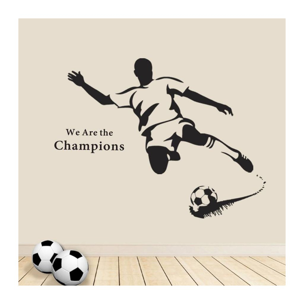 Samolepka na stenu Čierny futbalista