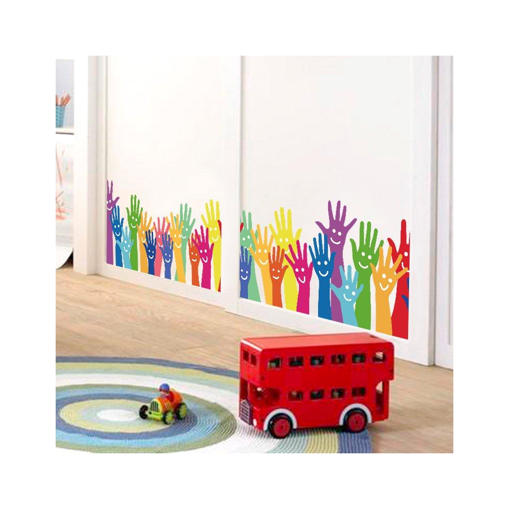 Samolepka na stenu Farebné ruky