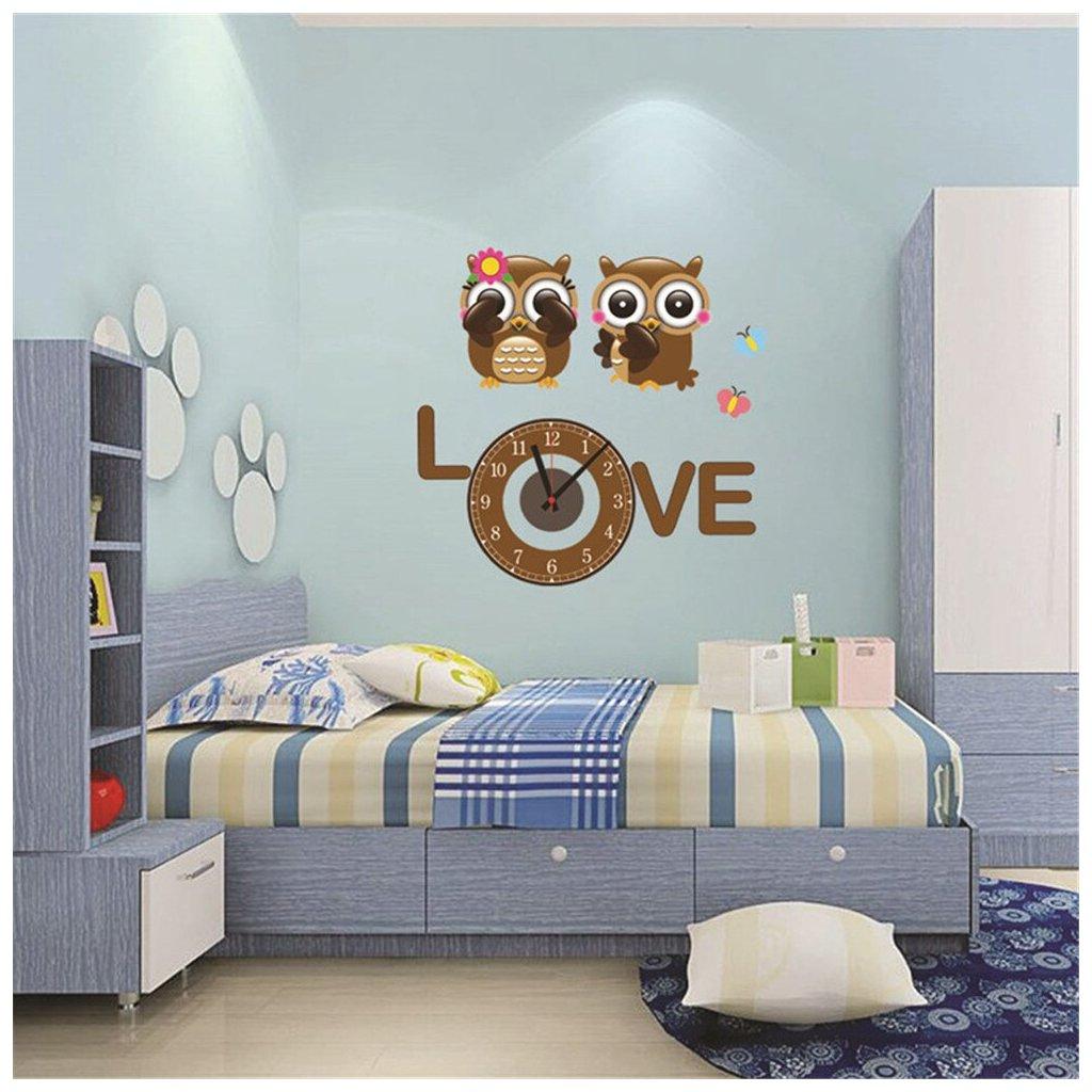 Samolepiace detské hodiny Zamilované sovy