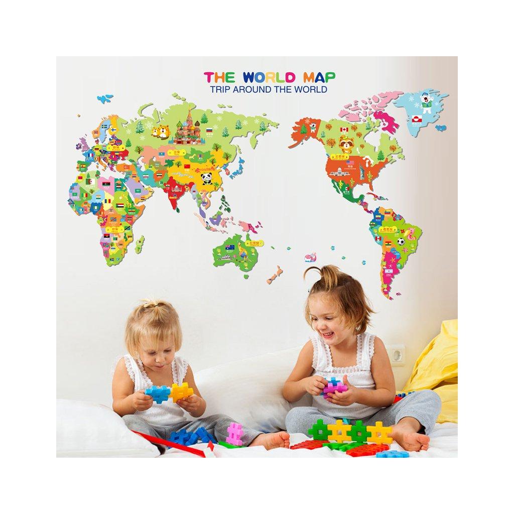 Samolepka na stenu Farebná detská mapa Sveta