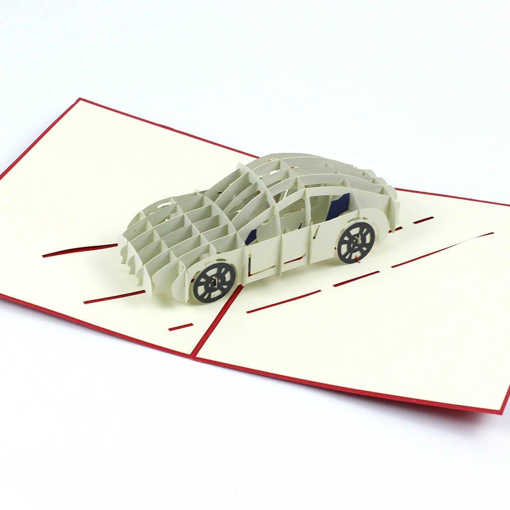 3D prianie Biele športové auto