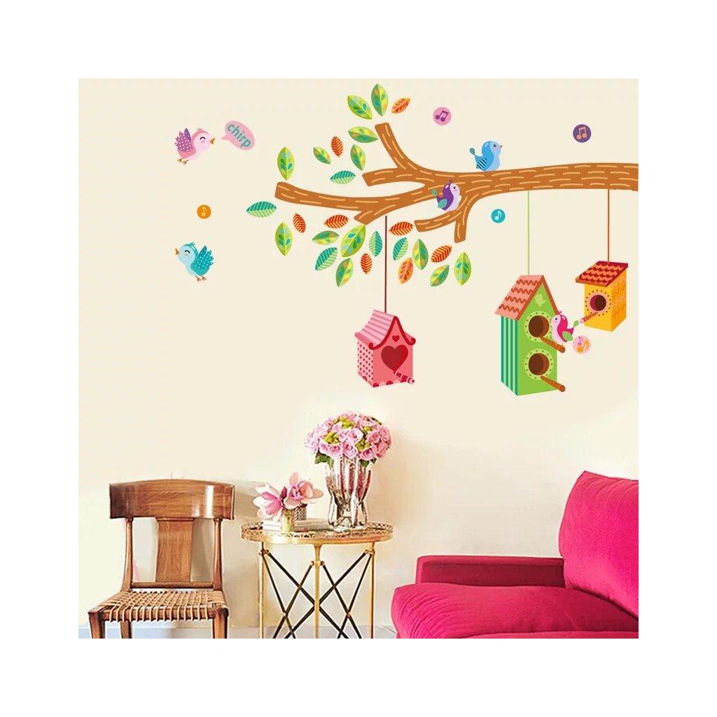 Samolepka na stenu Farebné vtáčie búdky