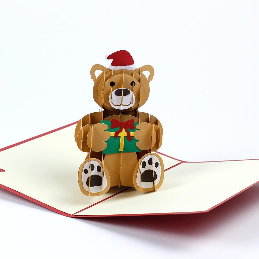 3D prianie Veselé Vianoce praje medveď