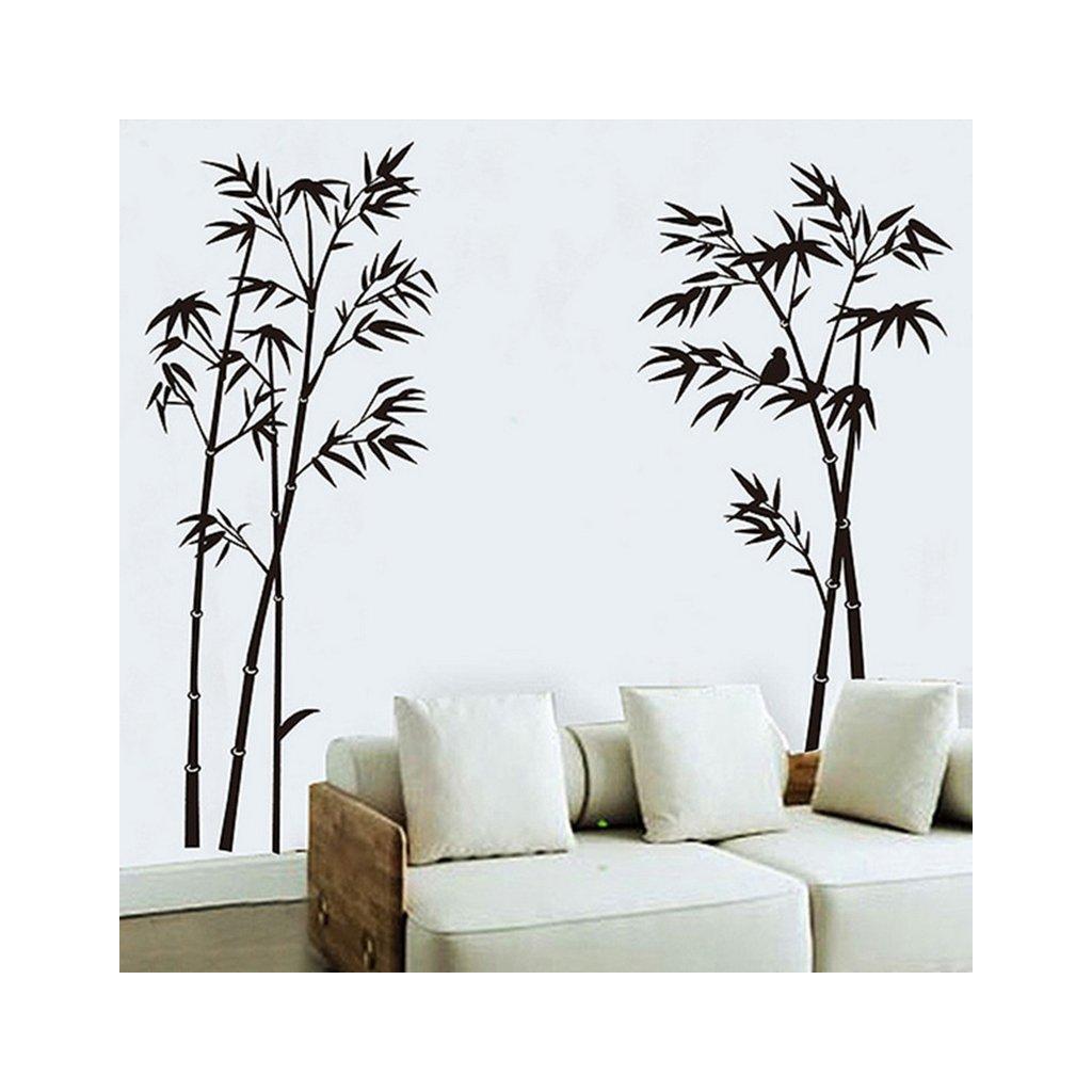 Samolepka na stenu Čierne stromky s vtáčikom