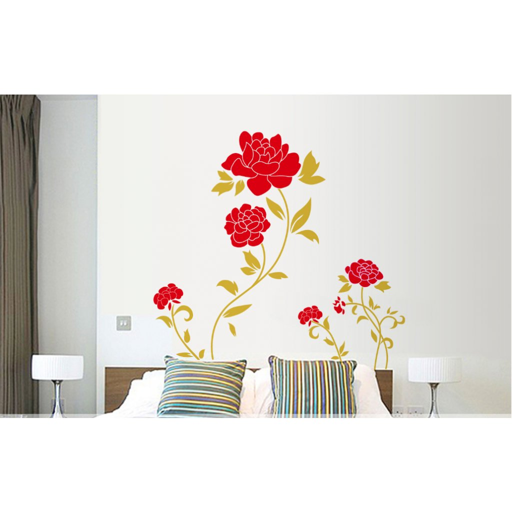 Samolepka na stenu Červené ruže