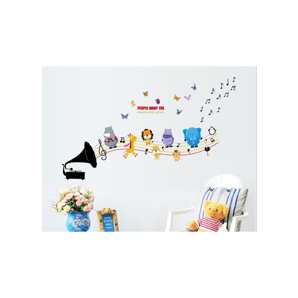 Samolepka na stenu Detský gramofón so zvieratkami