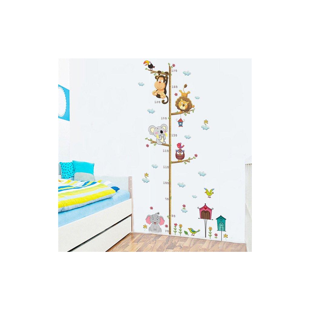 samolepka na stenu Detský meter zvieratká zo ZOO