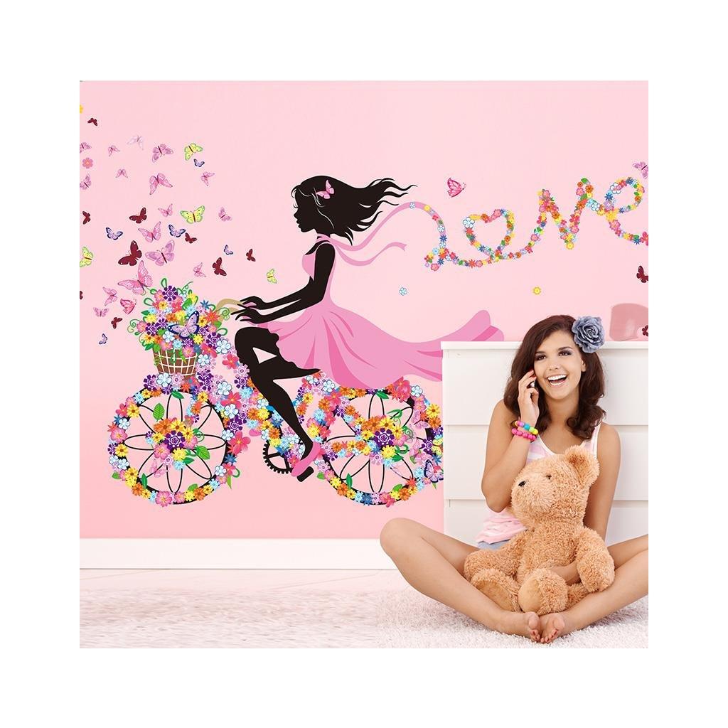 Samolepka na stenu Dievča na bicykli