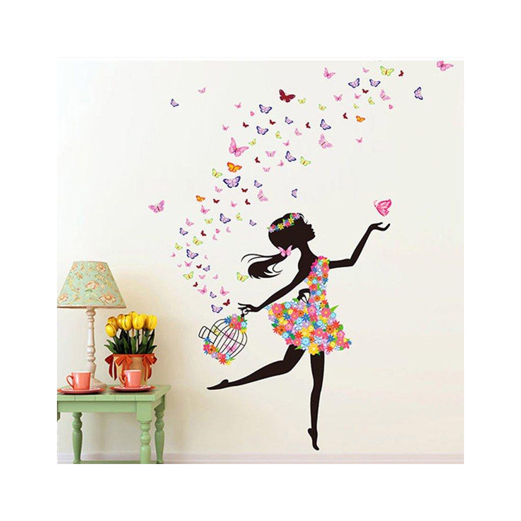 Samolepka na stenu Dievča s klietkou