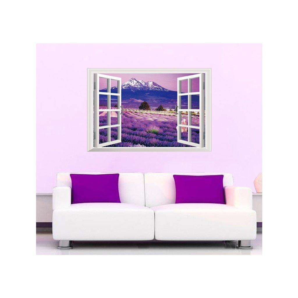 Samolepka na stenu Fialový raj v okne