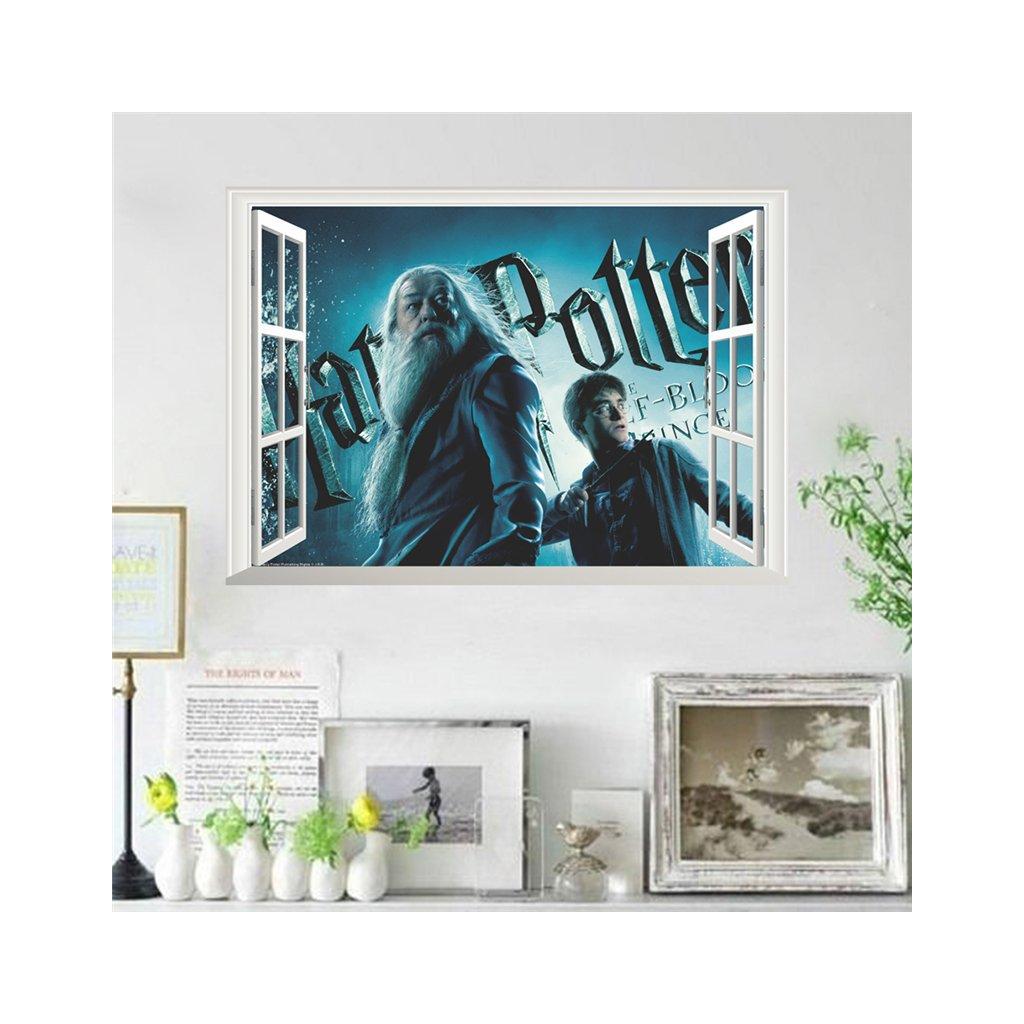 samolepka na stenu Harry Potter a Dumbledore v okne