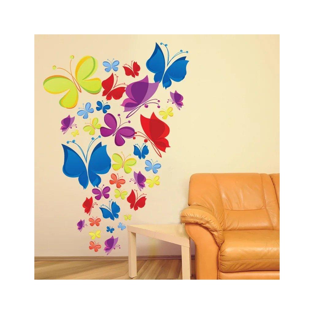 Samolepka na stenu Kŕdeľ motýľov