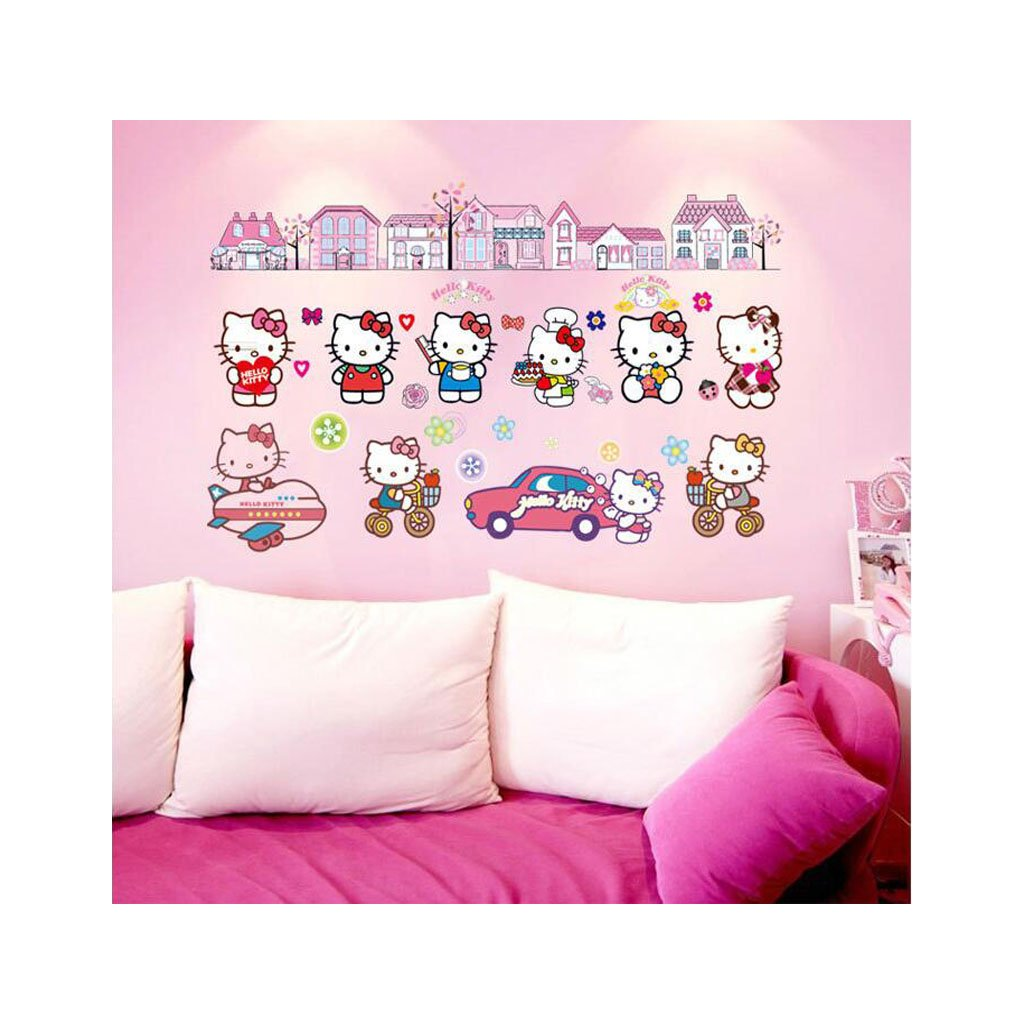 Samolepka na stenu Hello Kitty s domčekmi