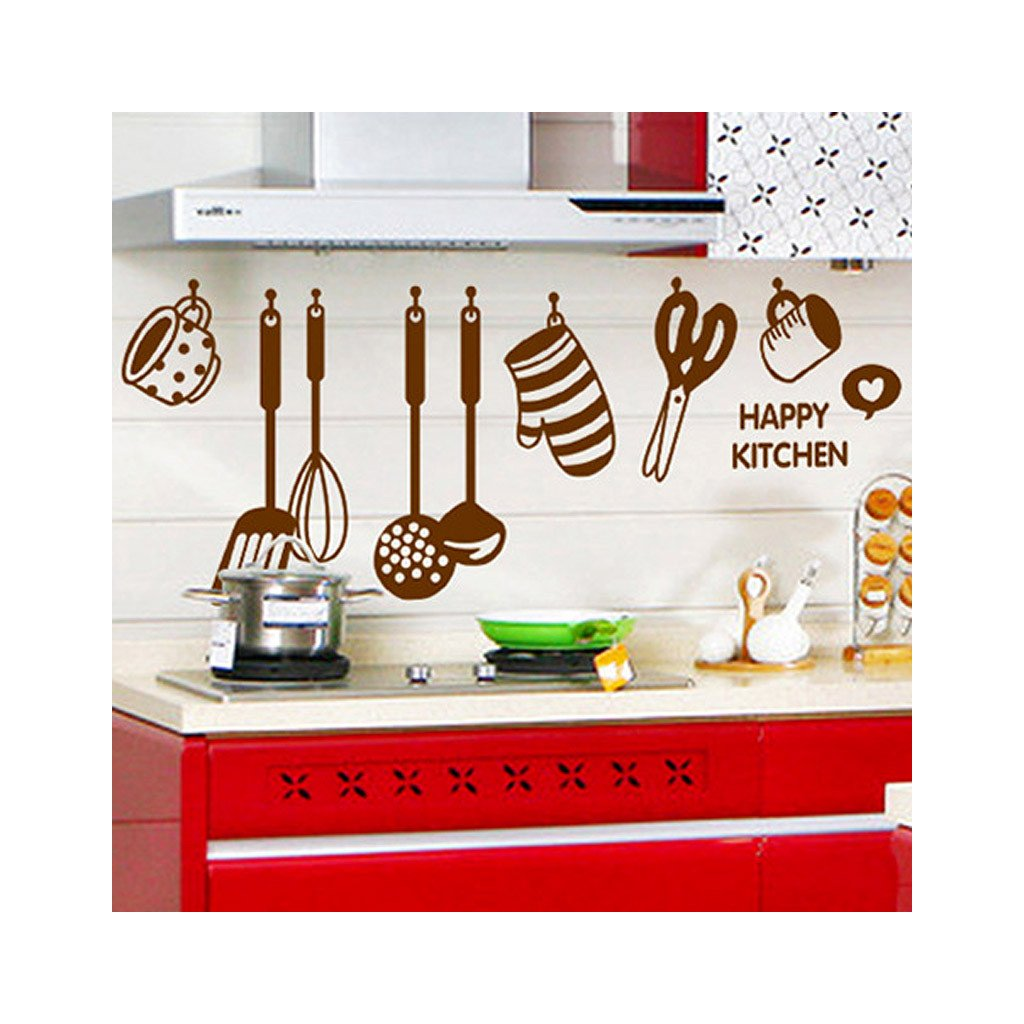 Samolepka na stenu Hnedé doplnky do kuchyne