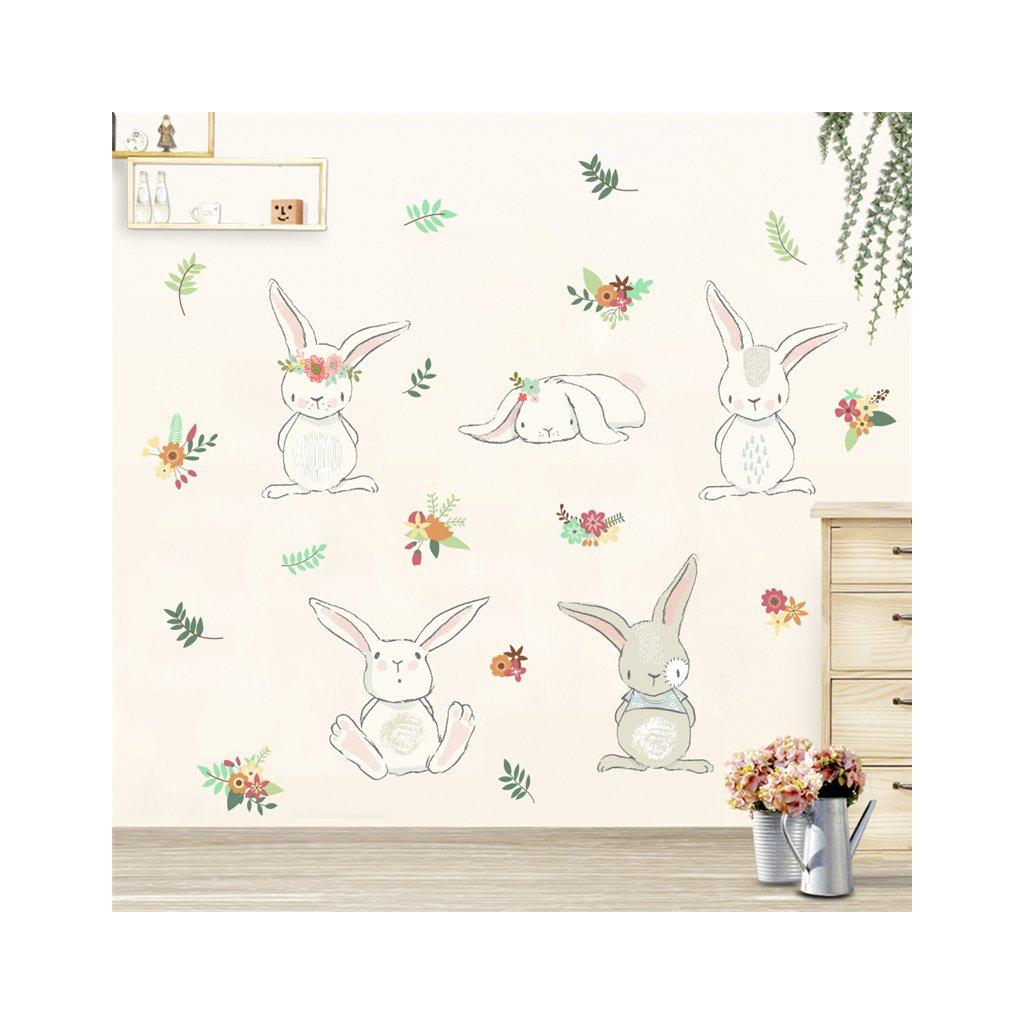 Samolepka na stenu Hravé králiky