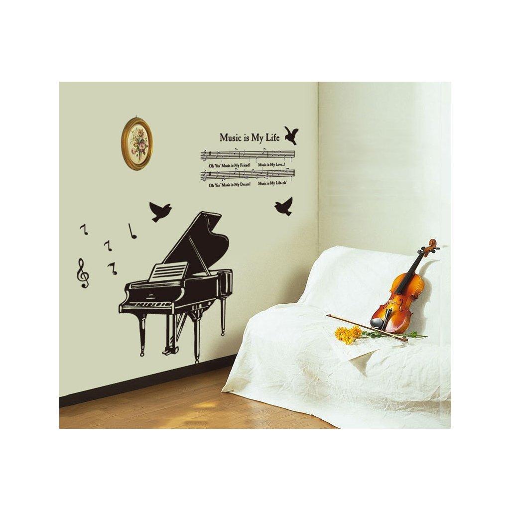 Samolepka na stenu Klavír