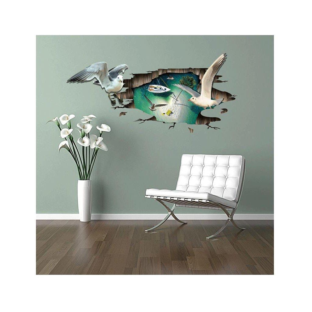 Samolepka Láska z vtáčieho pohľadu