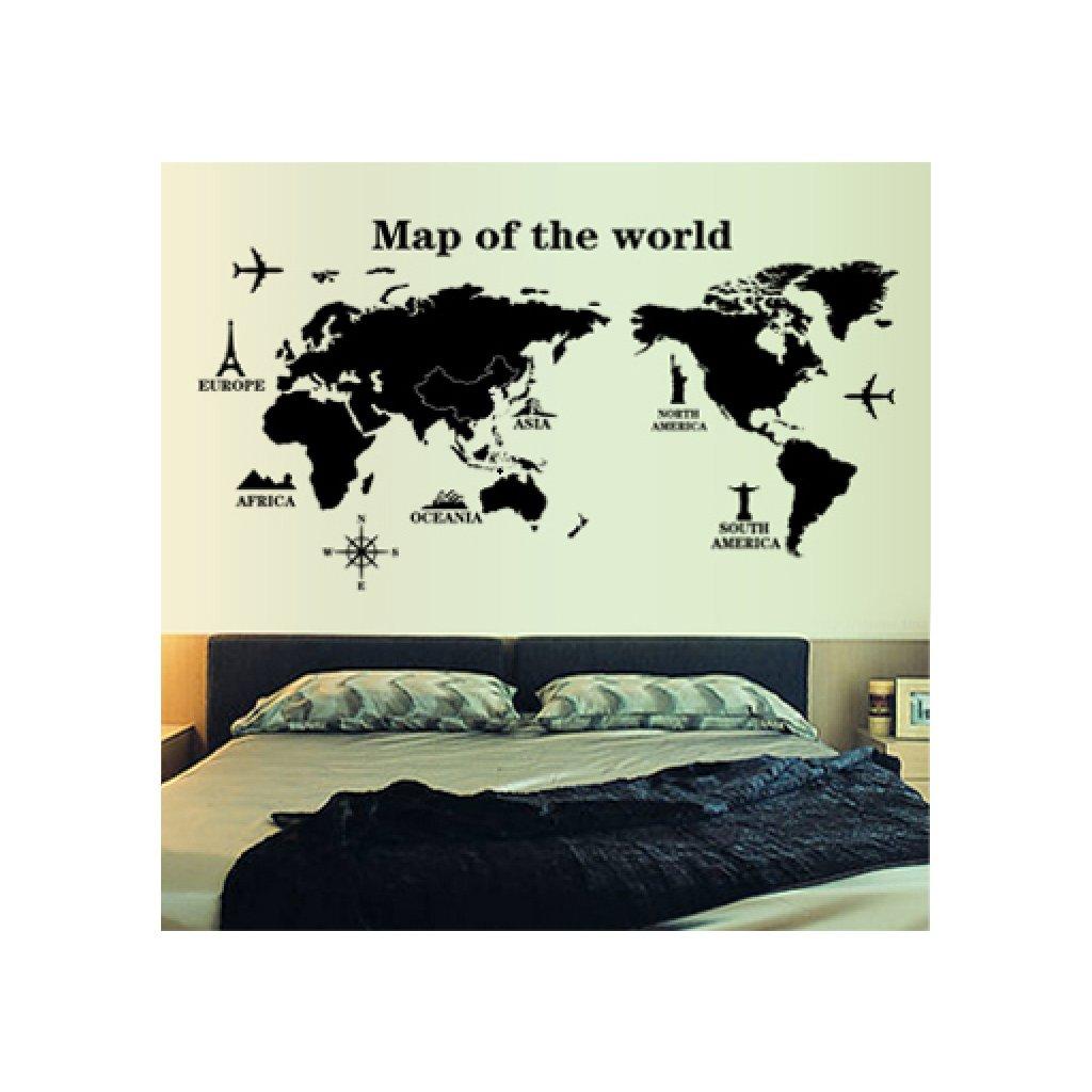 Samolepka na stenu Mapa celého Sveta