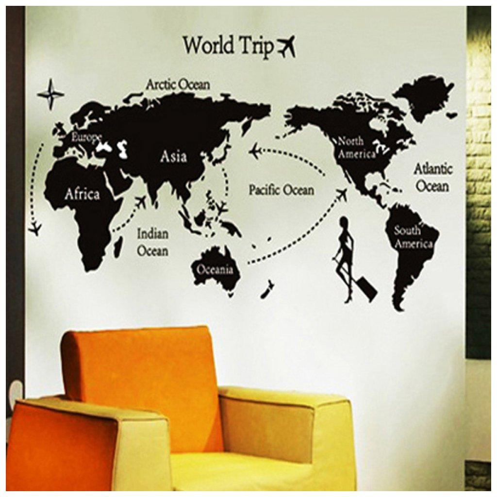 Samolepka na stenu Mapa cesta okolo Sveta