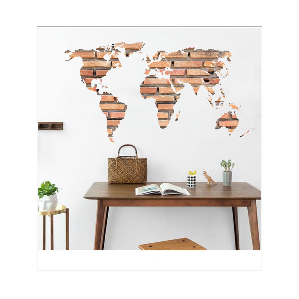 Samolepka na stenu Mapa Sveta z tehál