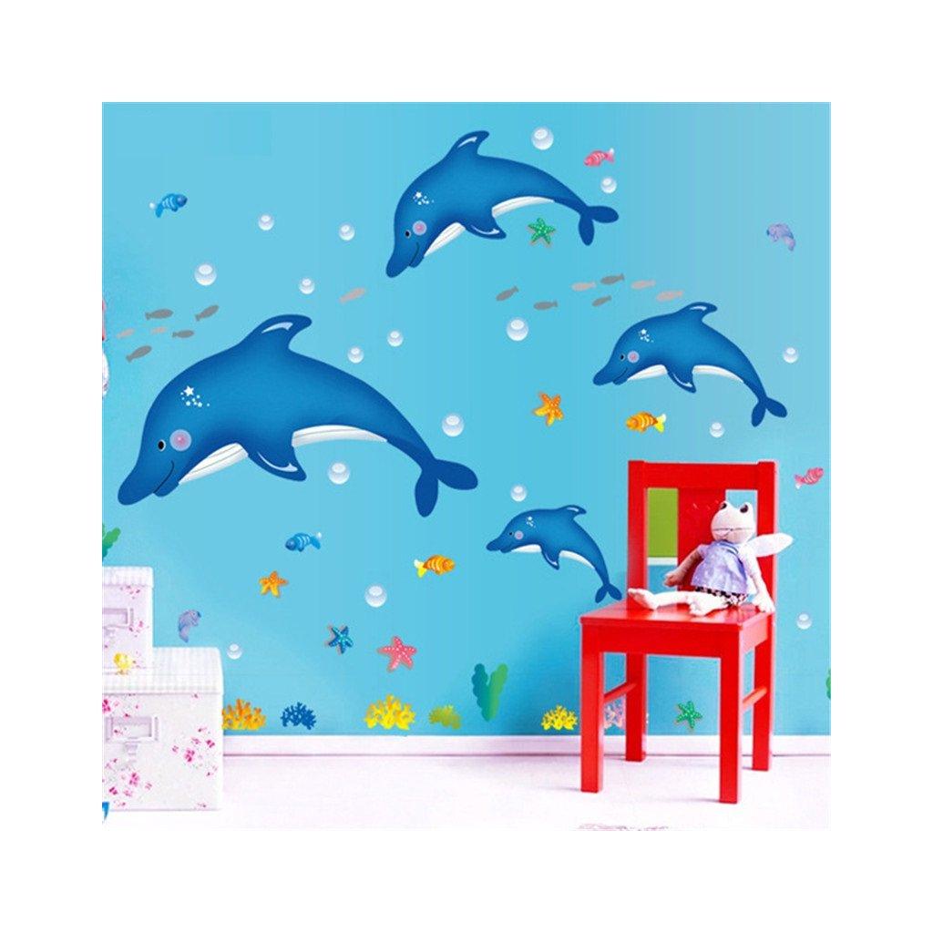 samolepka na stenu Modré delfíny