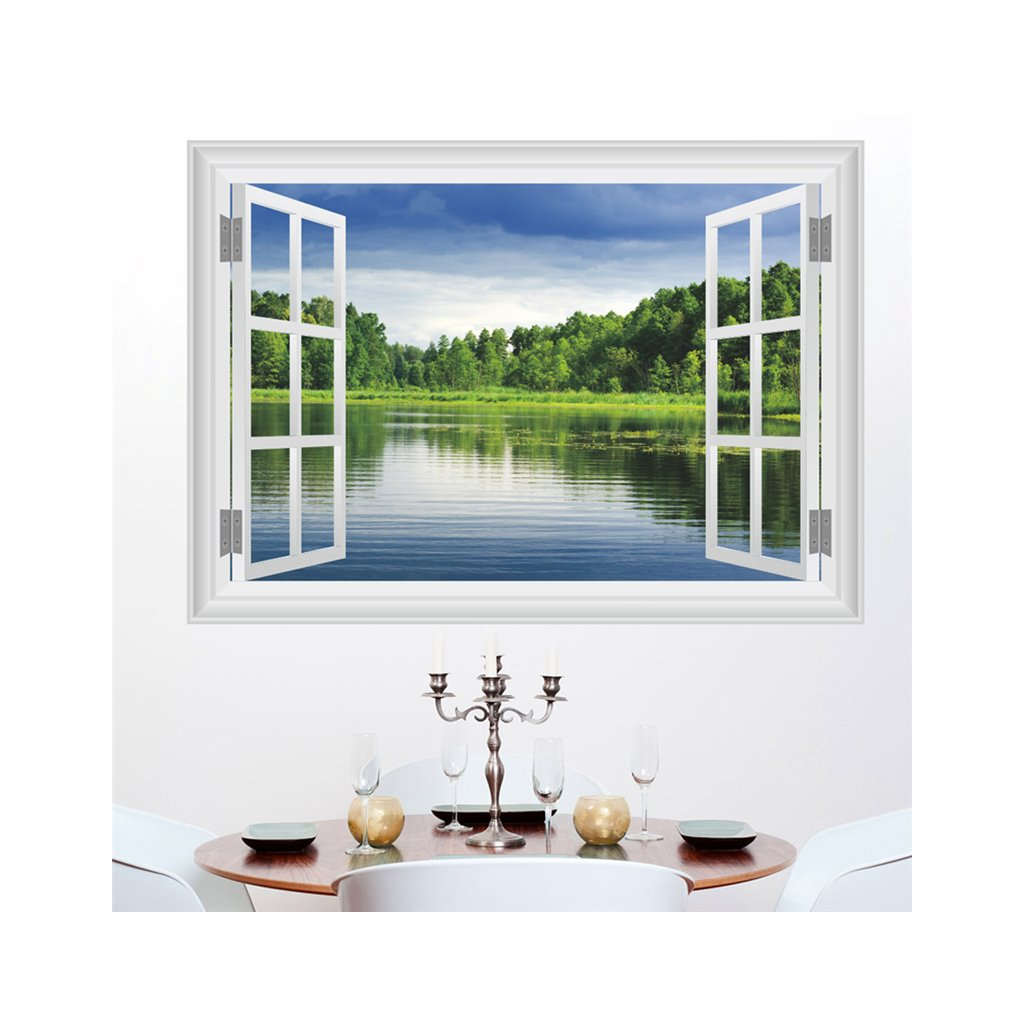 samolepka na stenu Okno s výhľadom na jazero