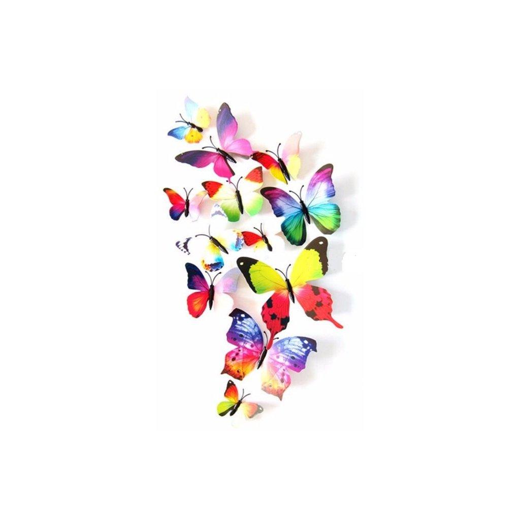 3D Motýliky Viacfarebné