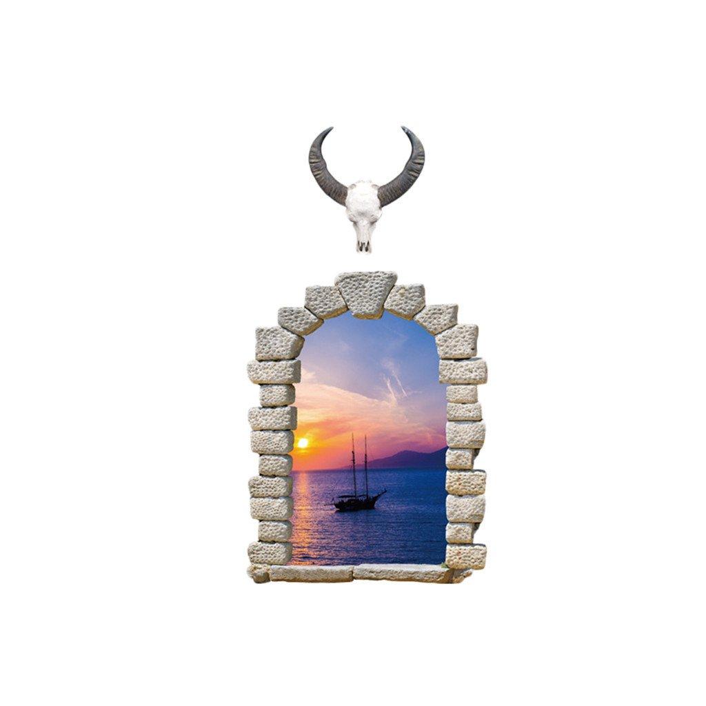samolepka na stenu Okno s výhľadom na plachetnicu