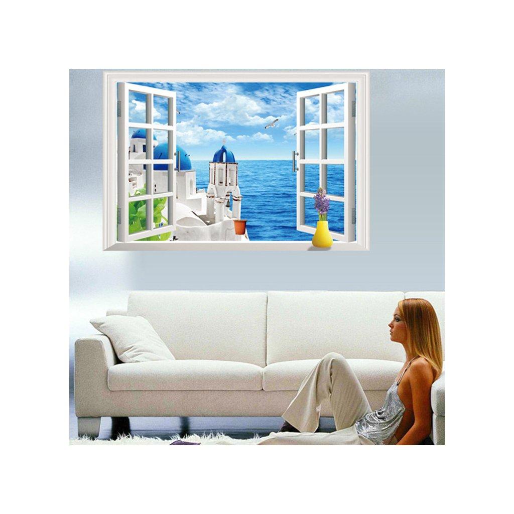 Samolepka na stenu Okno s výhľadom na Grécko