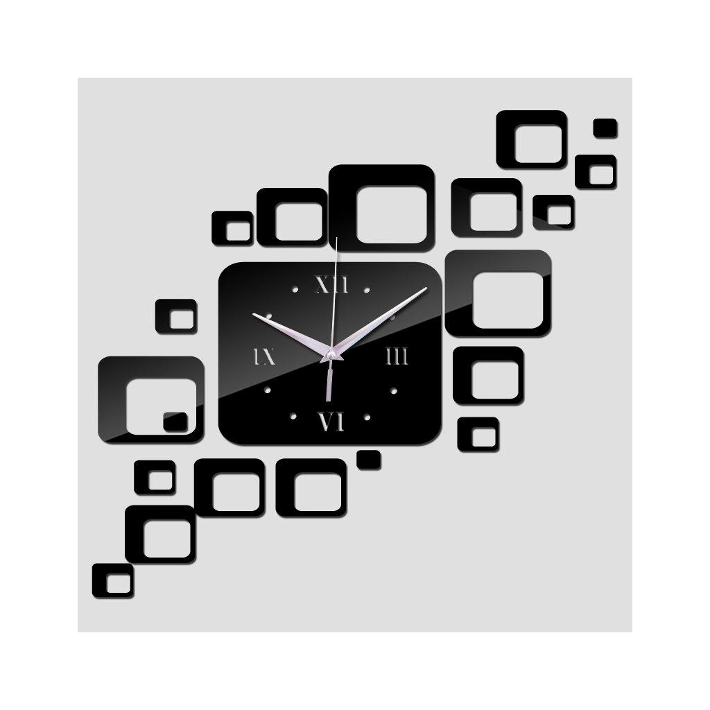 Štvorcové nástenné hodiny striedme čierne