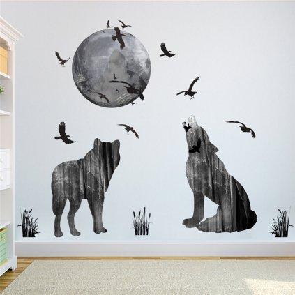 Samolepka Vlky vijúce na Mesiac