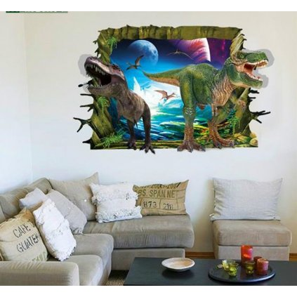 Samolepka 3D Dinosauri útočia