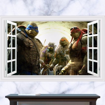 Samolepka Korytnačky Ninja za oknom