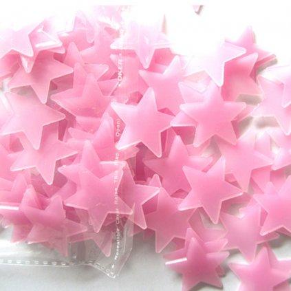Svietacie fosforové ružové hviezdičky 80 ks
