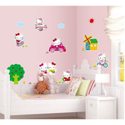 Samolepka na stenu Hello Kitty na výlete