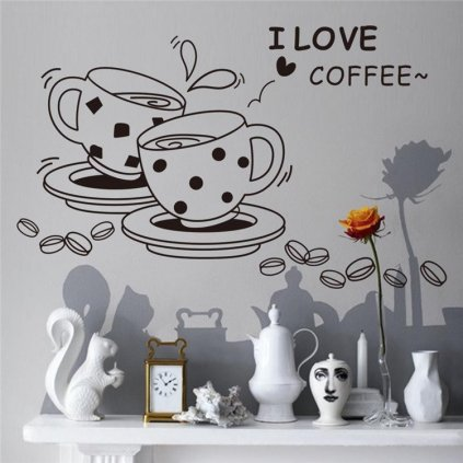 Samolepka na stenu Šálky kávy