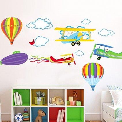 Samolepka na stenu Lietajúce balóny a lietadlá