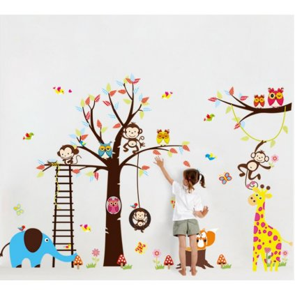 Samolepka Strom s hojdačkou a zvieratkami zo Zoo