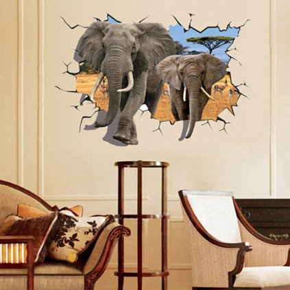 Samolepka na stenu 3D Slony