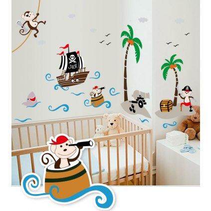 Samolepka na zeď Pirátske opičky