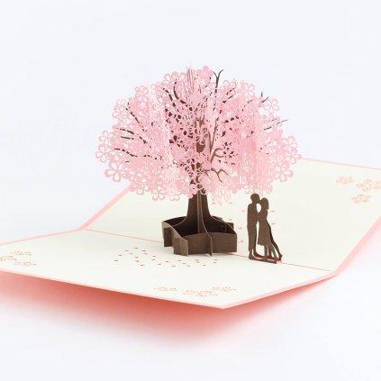3D prianie Láska pod rozkvitnutým stromom