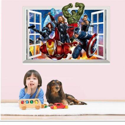 samolepkana zeď Avengers v okně