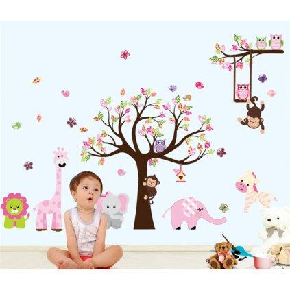 Samolepka na stenu Ružový strom s hojdačkou a zvieratkami zo Zoo