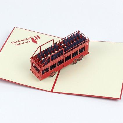 3D prianie Červený autobus