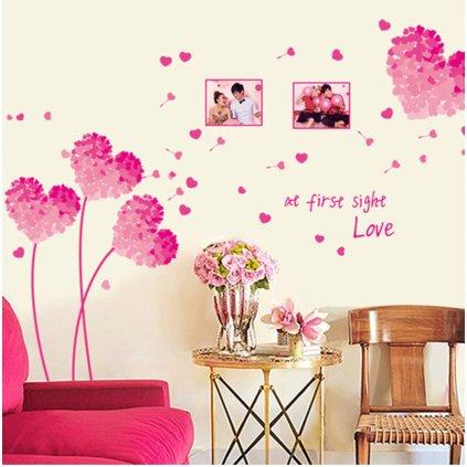 Samolepka na stenu Kvety lásky ružové